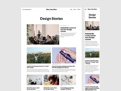 Nice, Very Nice Blog: WIP minimalist story magazine articles posts blog design blog
