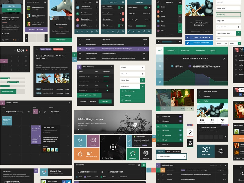 Square UI - Interactive Components Board sqaure ui ux ui pack ui kit graph slider psd elements components menu price table carousel button flat flat style