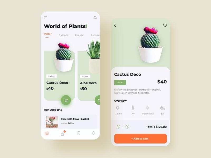 Online Plant Shop outdoor plant indoor plant product design mobile ui ecommerce plant app mobile interface interaction mobile app design