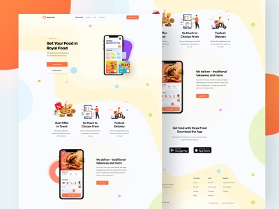 Mobile App Landing Page |#Daily UI 003 illustrator uxdesign food delivery delivery branding website design foodmobileapp foodlanding food webdesign landingpage landing web interaction ui mobile app design