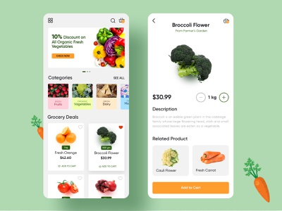 Grocery Shopping Mobile App🌾 food delivery web food app ecommerce groceries online grocery grocery app grocery shopping grocery store grocery list grocery shopping app shopping food dailyuichallenge ui ux mobile interface design mobile app