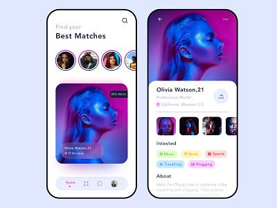 Match Maker App Concept dailyuichallenge branding social media valentine tinder partner finder datting app match finder datting match ux mobile app ui design