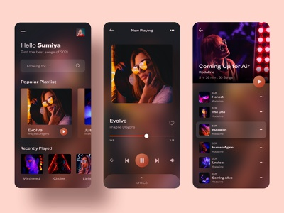 Music Player App Exploration 🎶 music player ui music player app glassmorphism music player music app player music playlist ui ux dailyuichallenge mobile interface mobile app design