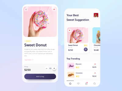 Donut Mobile App mobile donut doughnut delivery app seet app donut app food order app food app branding dailyui interaction food dailyuichallenge mobile interface ux ui mobile app design