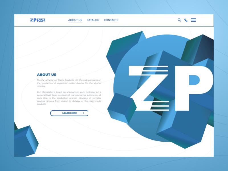 "Plant ""Zarya Plast"" main lines blue pure plastic website design design art minimalism website web design ux ui minimal web design"