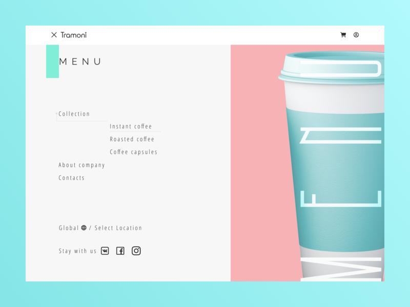 """Tramoni coffee"" concept coffee cup coffee animation animated gif menu bar menu krayola pink blue website design shot design art minimalism website web design minimal web design"