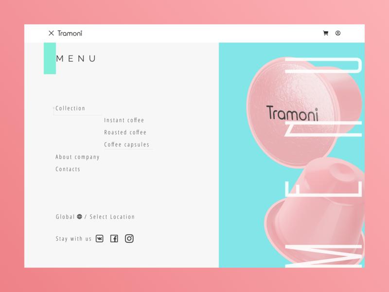 """Tramoni coffee"" concept coffee bean coffee cup coffee menu design menu card menu bar menu pink blue shot design art minimalism website web design minimal web design"