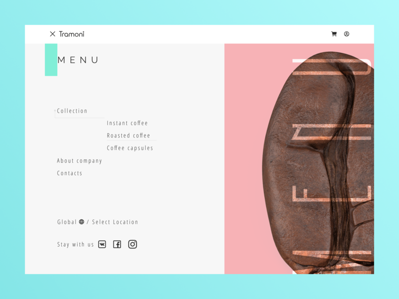 """Tramoni coffee"" concept menubar menu design menu card menu bar menu coffee bean coffee cup coffee pink blue main food shot design art minimalism website web design minimal web design"
