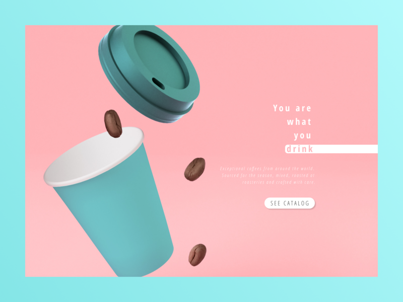 """Tramoni coffee"" concept coffee bean coffee cup main page main coffee pink health food website design shot design art minimalism web design minimal web design"
