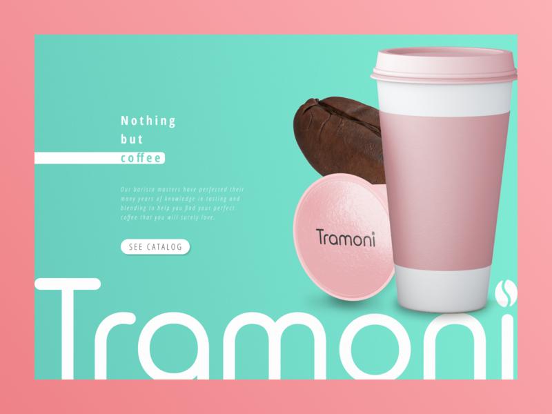 """Tramoni coffee"" concept minimalistic main page mainpage coffee cup coffee pink main blue website design shot design art minimalism web design minimal web design"