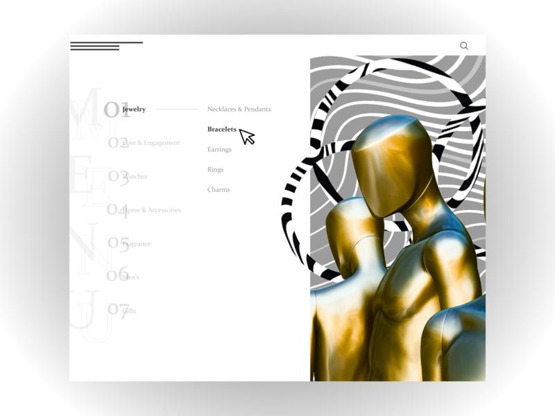 ARTEFACT jewelry I Web Design Concept menu design menu menubar style nimbus circle lines the jewels gold jewelry minimalism website web design minimal web mannequin manikin design