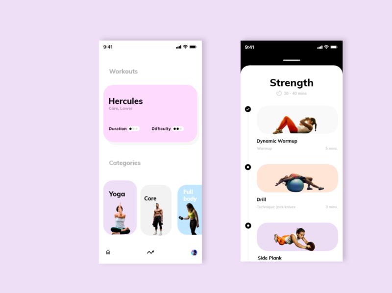 Workout app design ui design