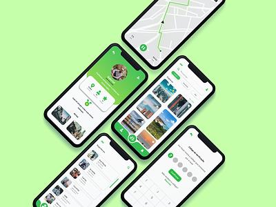 Tracker App biker traveling social figma flat mobile app brasil green minimal health sports track mobile ui bike mobile design app ux ui