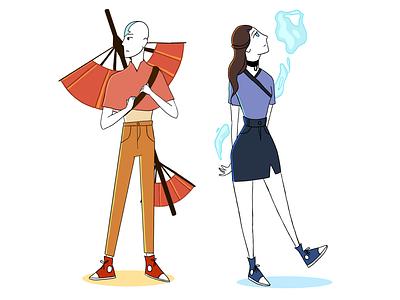 young aang and katara flat illustration