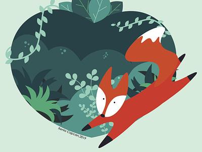 Heart of the forest illustrator flat icon branding vector ui logo design illustration