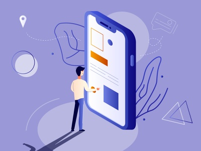 The illustration shows a man who chooses the menu on the phone button better 3d creative technology big smartphone phone mobile app touching screen large isometric internet chat application man illustration person