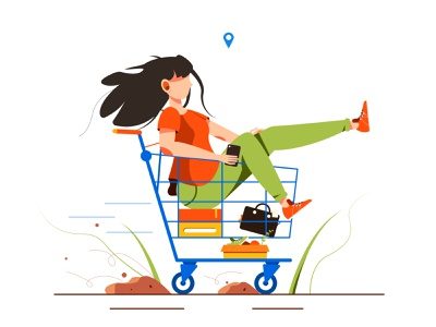 The illustration shows a girl who rides in a cart mall humor flat background young woman trolley cartoon business ride commerce buyer girl character illustration happy cart supermarket buy person
