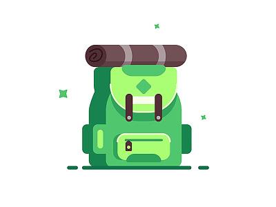 Fashionable green backpack. satchel travel haversack object knapsack sack back adventure luggage isolated bag backpack illustration baggage art school icon design fashion background