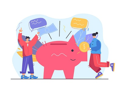Saving money banking investment coin currency cash economy finance financial technology cartoon man money person icon hand abstract design business vector background