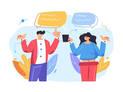 A girl and a guy communicate flat character guy illustration art technology cartoon office man couple girl person icon hand design fashion business woman vector background