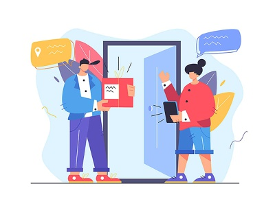 Delivery to the door parcel package fast concept illustration delivery service door cartoon man money shopping house girl person design business woman vector background