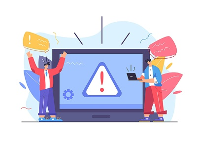 Warning symbol alert caution danger security site sign isolated web message information error technology cartoon internet man design computer vector background