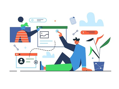 Working with data and files network businessman work illustration people file data information technology cartoon office internet man person abstract design computer business vector background