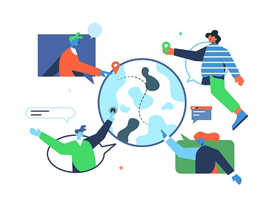 Users around the world network connection world social user technology face cartoon internet nature man globe girl person hand abstract design business woman vector