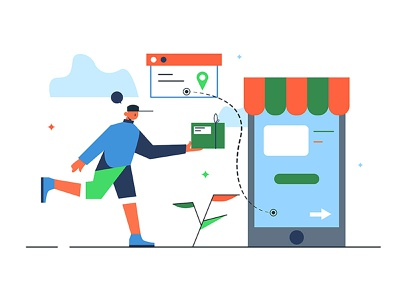 Mobile store with delivery web sale commercial online concept phone service mobile delivery illustration store technology internet shopping food icon design business vector background