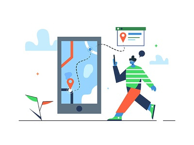 Navigation on the way point guide gps location map road way navigation technology cartoon office internet man person icon hand design business vector background