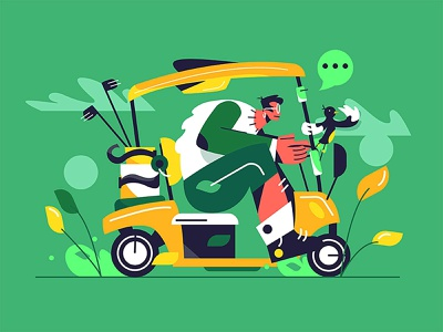 Golfcar activity golfing transportation wheel vehicle game electric isolated equipment cart illustration recreation cartoon man summer sport golf car vector background
