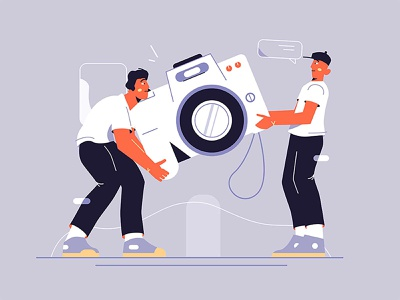 Movers and camera cargo tech gadget heavy man moment memorable photocamera technology style flat photo device digital illustration vector camera carry guy movers