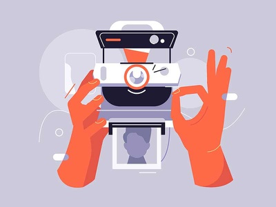 Camera profile vintage tech gadget memory technology style flat card photo instant picture device hand illustration vector camera polaroid retro old