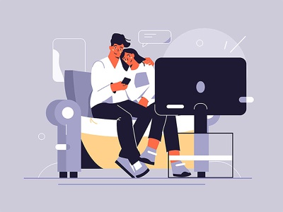Watching TV home couch leisure weekend relationship family style flat time spare sofa hugging woman man illustration vector show tv watching couple
