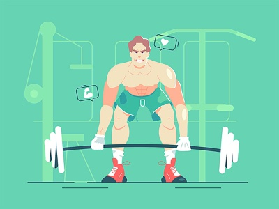 The guy lifts the barbell person sport athlete competition lifting weight style flat muscle bigger training man strong illustration vector gym barbell heavy lift guy