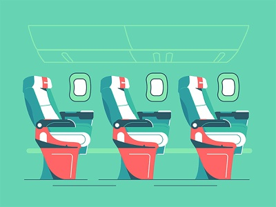 The cabin of a passenger plane decoration design window transport air traveling airplane tourist empty style flat interior aircraft salon illustration vector seat plane passenger cabin