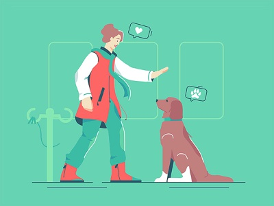 Mistress with a dog gesture command behavior fluffy female animal love domestic connection style flat puppy train owner woman illustration vector dog pet mistress