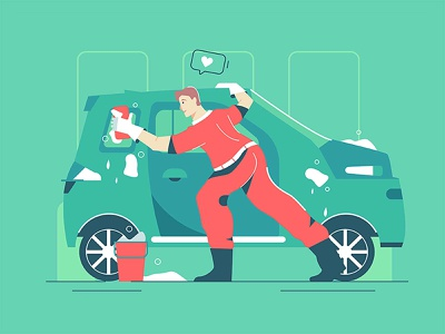 Washes the car person equipment worker transport station service automobile style flat tool exterior vehicle polish character illustration vector mop male car wash