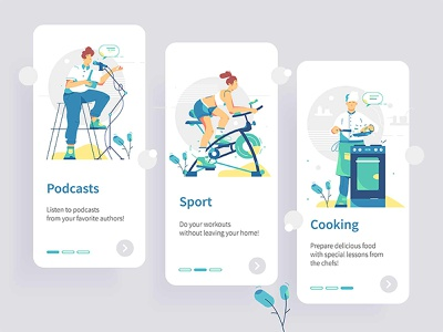 Mobile ui detail touchscreen app interface style flat set template cooking sport podcast illustration vector phone kit design unique home smart mobile