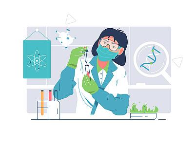 Biological research medicine character ui branding logo business person cartoon background design vector illustration