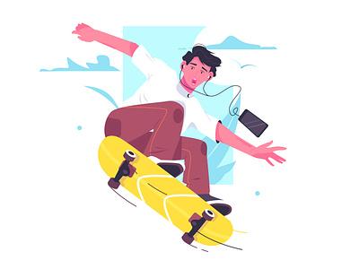 Young man ride skateboard on street ui branding logo business person cartoon background design vector illustration smartphone