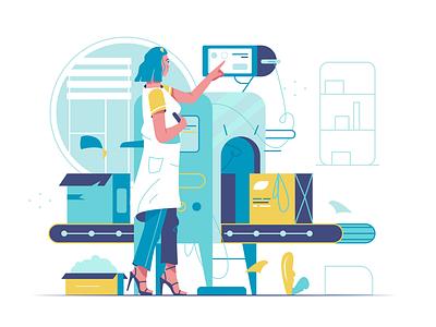 Conveyor hand app woman internet flat icon technology branding ui logo business person cartoon background design vector illustration