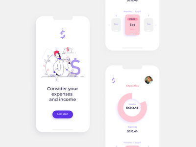 Design of a mobile application for accounting of expenses and in flat app ux mobileui branding ui logo business person cartoon background design vector illustration