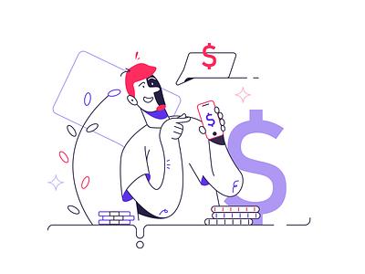 Money in the mobile phone app ux internet flat icon man ui branding logo business person cartoon background design vector illustration