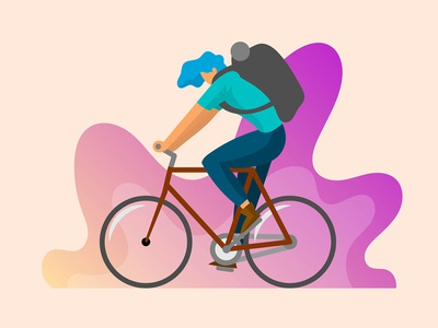 Flat Character ride a Bicycle Vector Illustration