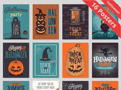 16 Halloween vector Poster designs
