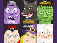 Halloween 6 Posters Vector set