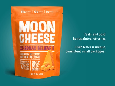 Moon Cheese Logo and Package lettering emmelylaura cheese packaging branding paint logo brush typography handlettering type lettering