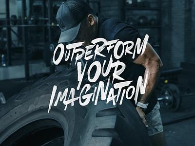 Outperform Your Imagination logo design merch lifestyle gym design fitness sports brand identity branddesign branding calligraphy logo brush typography handlettering type lettering