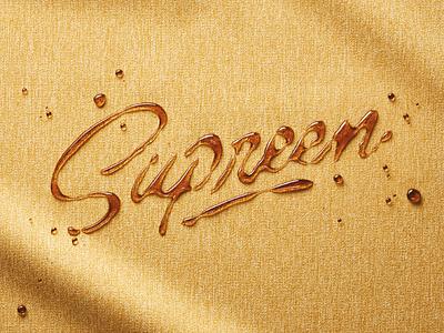 Supreen - Lettering for Ads brand identity brand branding magazine cover advertisment ads honey liquids liquid design logo calligraphy brush typography handlettering type lettering